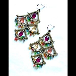 Vintage Multicolor Bead Fringe Chandelier Earrings